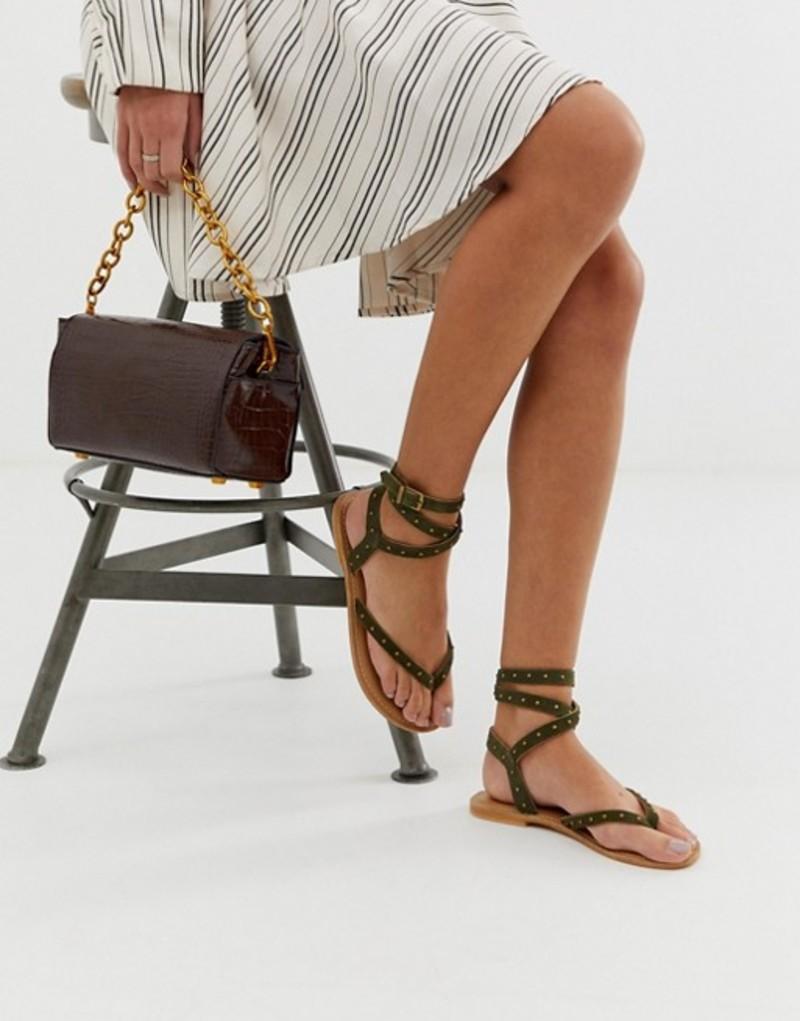 エイソス レディース サンダル シューズ ASOS DESIGN leather Fix It leather DESIGN ASOS flat sandals Khaki, スペシャリティーショップ デイ:0af453c4 --- reisotel.com