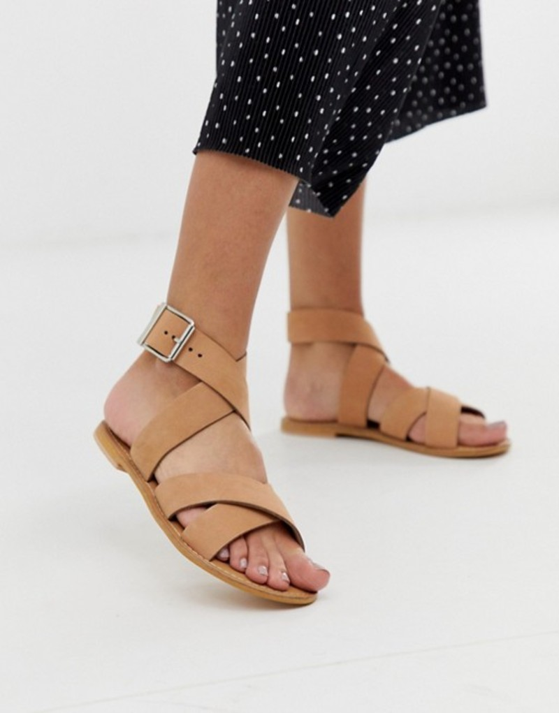 エイソス レディース サンダル シューズ ASOS DESIGN Flossy leather cross strap flat sandals Pale beige