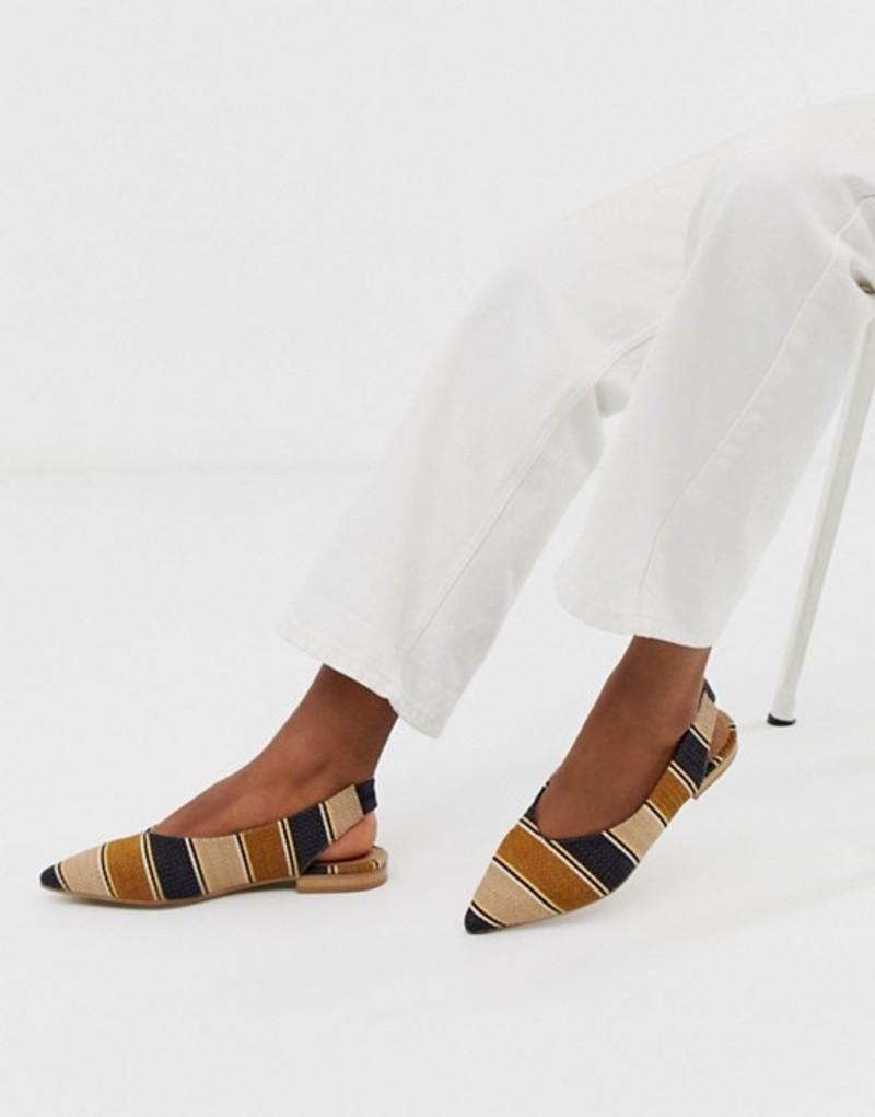 エイソス レディース パンプス シューズ ASOS DESIGN Leanne high vamp slingback ballet flats in stripe Stripe weave