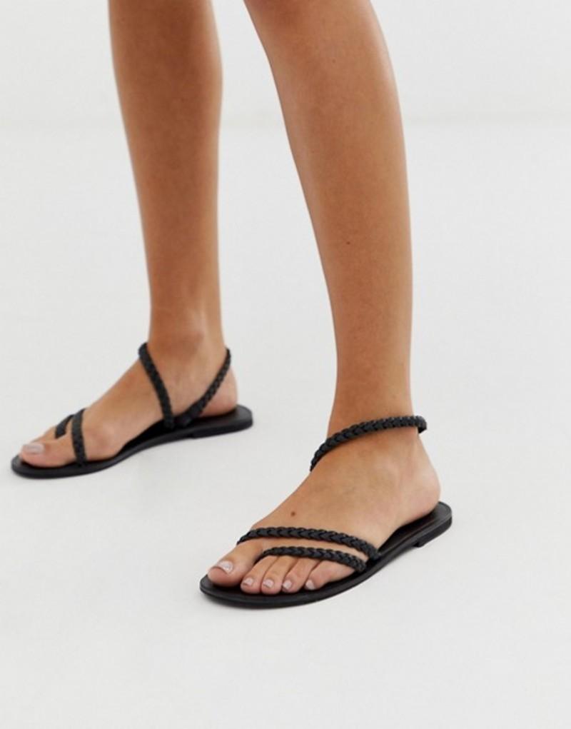 エイソス レディース Forecast サンダル レディース シューズ シューズ ASOS DESIGN Forecast leather asymetric flat sandals Black, なると小町:75b90f57 --- reisotel.com