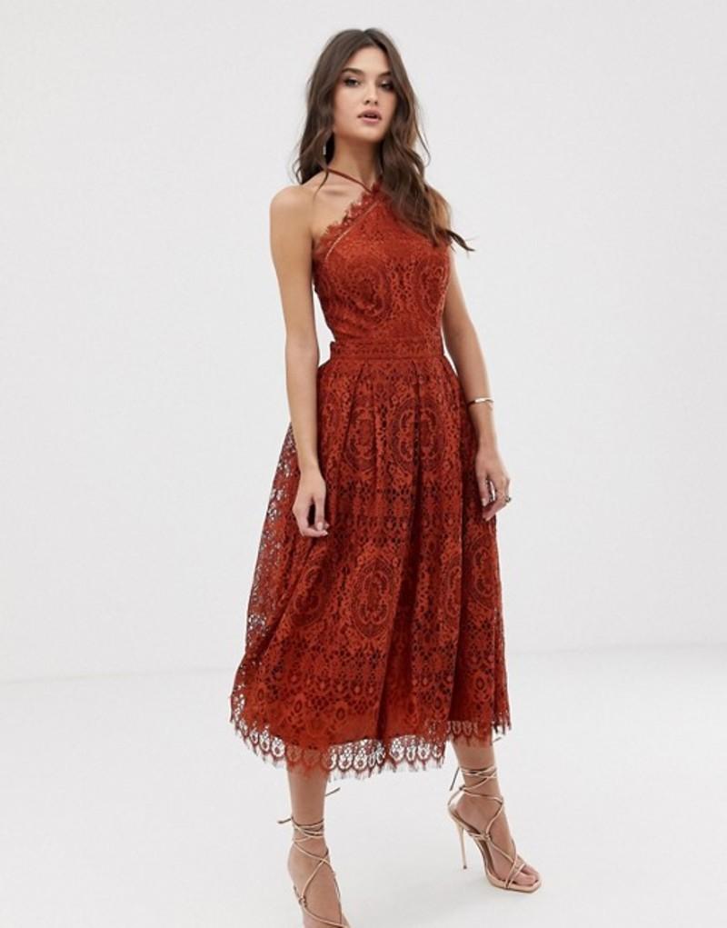 エイソス レディース ワンピース トップス ASOS DESIGN lace midi dress with pinny bodice Rust
