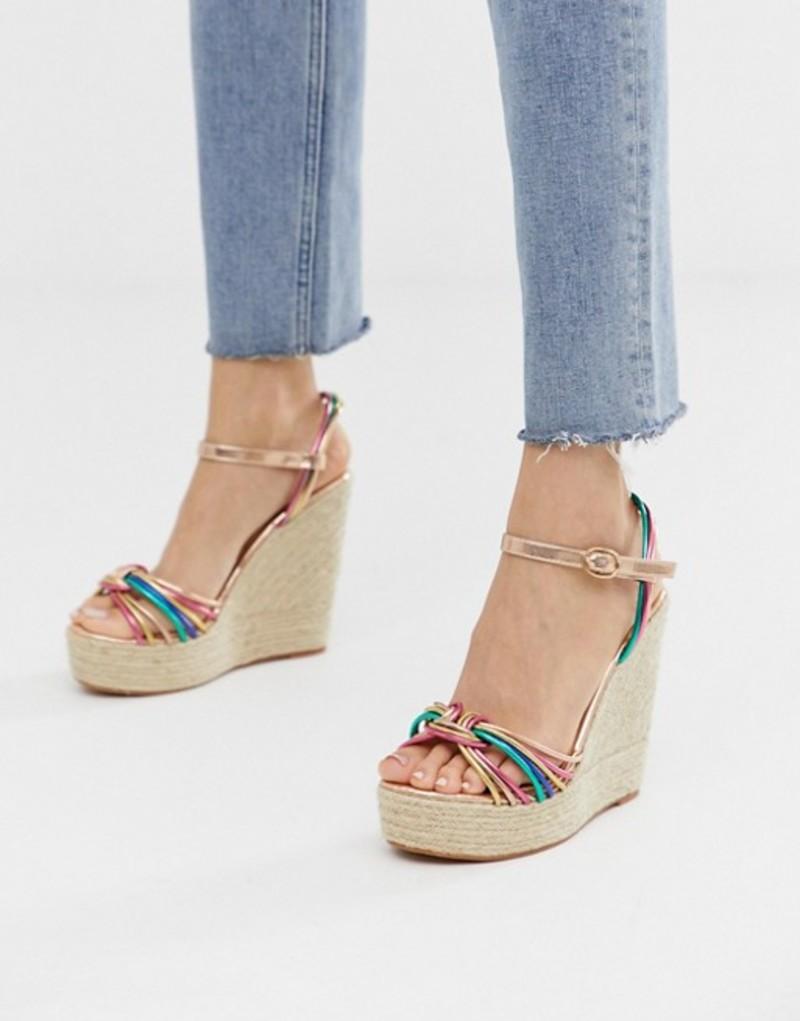 グラマラス レディース サンダル シューズ Glamorous multicoloured espadrille wedge sandals Multi