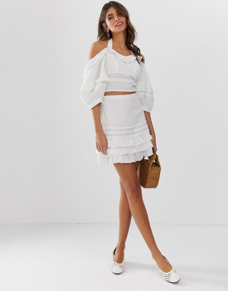 エイソス レディース スカート ボトムス ASOS DESIGN ruffle hem mini skirt White