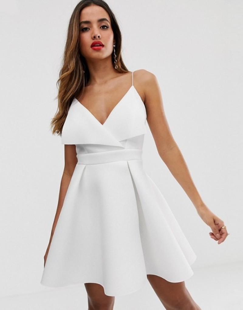 エイソス レディース ワンピース トップス ASOS DESIGN fold front scuba skater mini dress White