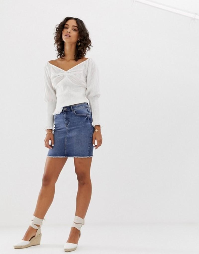ピーシーズ レディース スカート ボトムス Pieces denim mini skirt in blue Blue