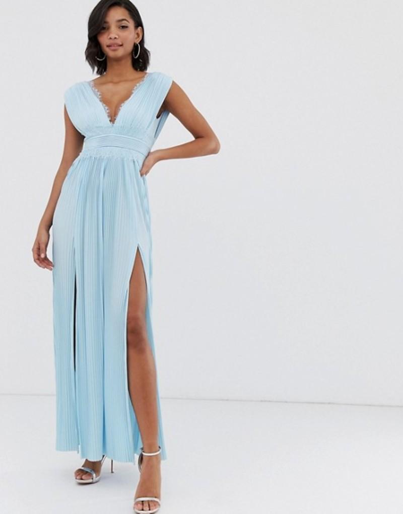 エイソス レディース ワンピース トップス ASOS DESIGN PREMIUM Lace Insert Pleated Maxi Dress Blue