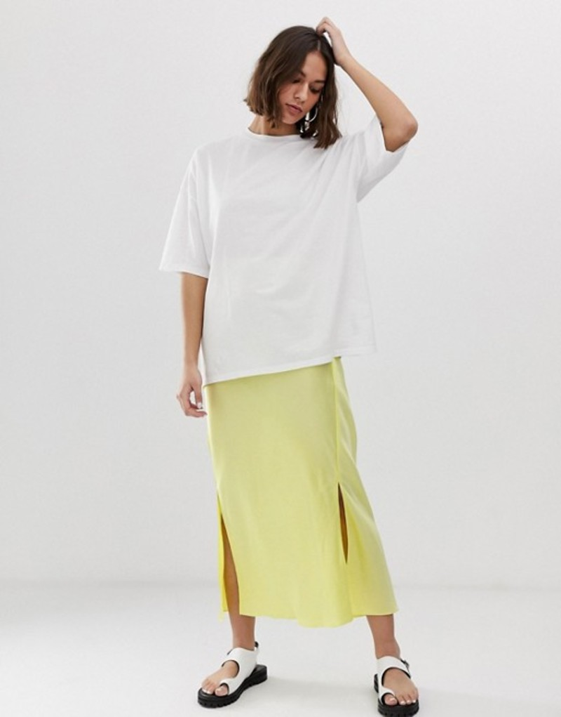 エイソス レディース スカート ボトムス ASOS DESIGN bias cut satin midi skirt with splits Lemon