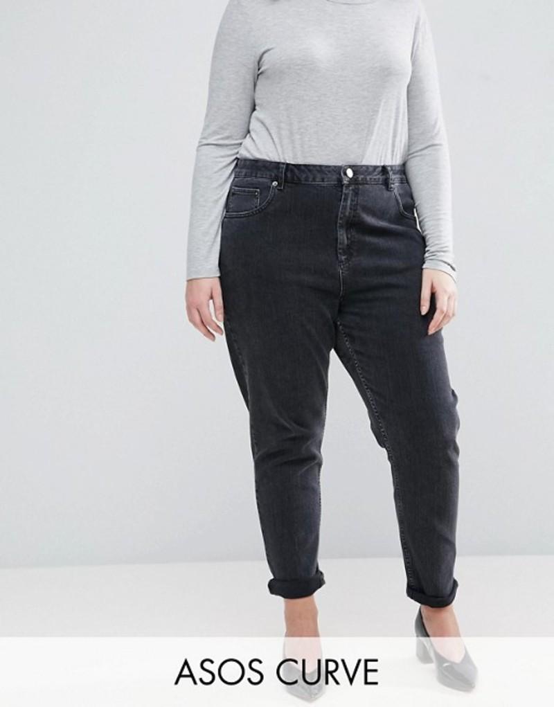 エイソス レディース デニムパンツ ボトムス ASOS DESIGN Curve Farleigh high waisted slim mom jeans in washed black Black