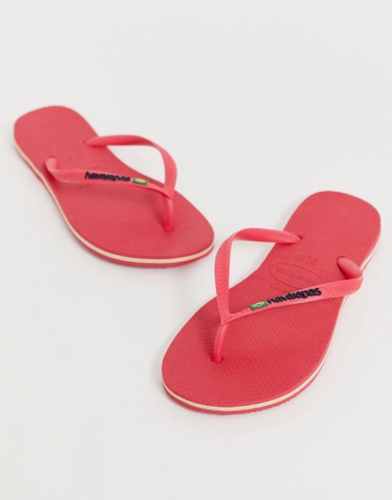 ハワイアナス レディース サンダル シューズ Havaianas Brasil logo flip flops in bright pink Flamingo