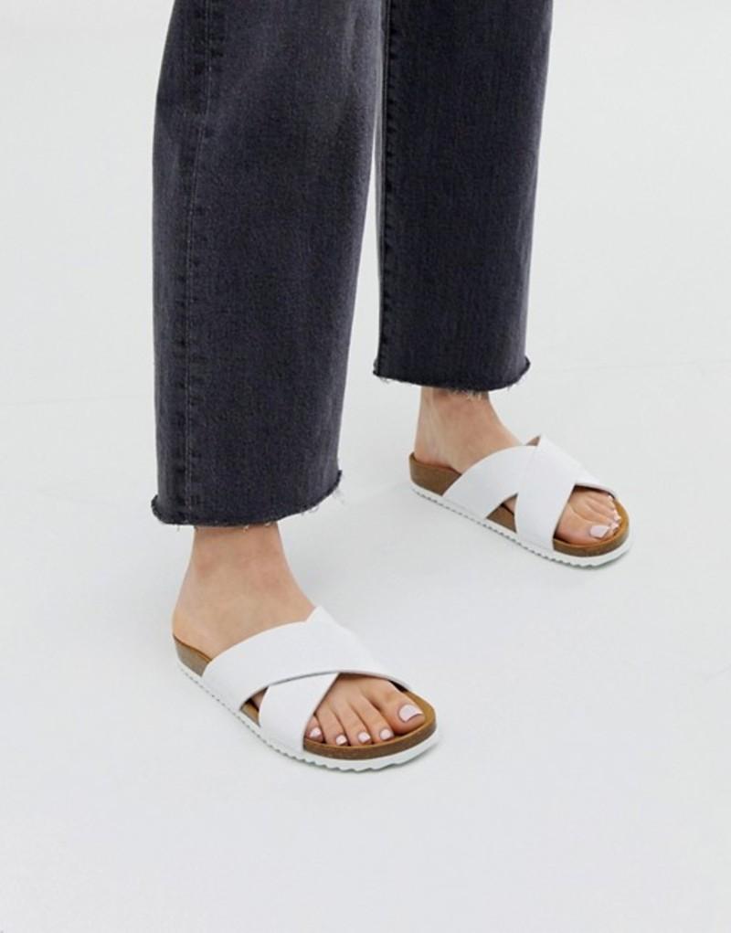 オフィス レディース サンダル シューズ Office Hoxton white slider sandals White