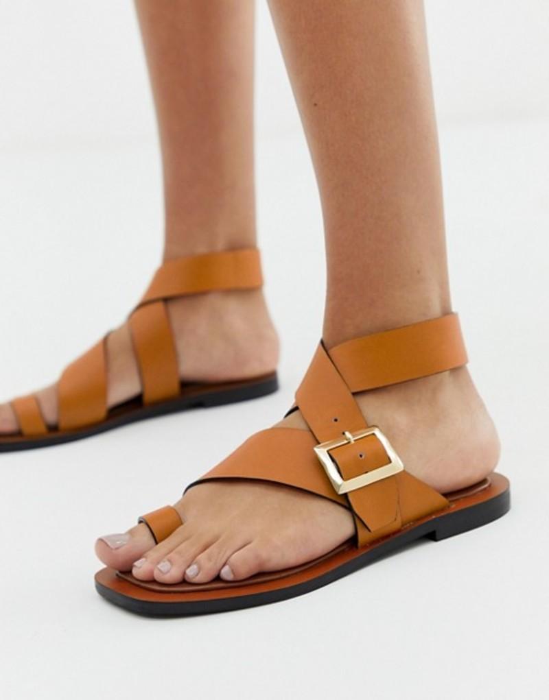 オフィス レディース サンダル シューズ Office Serenity tan leather flat toe loop sandals Tan leather