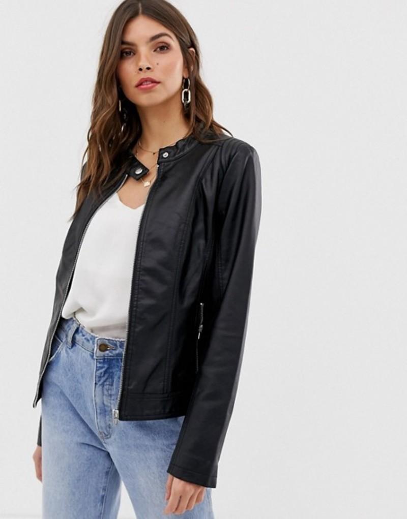 ヴィラ レディース ジャケット・ブルゾン アウター Vila Leather Look Collarless Jacket Black