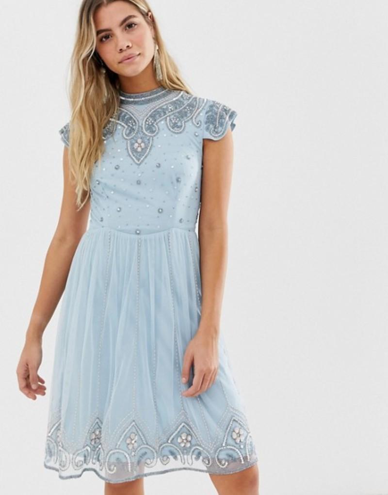 フロック レディース ワンピース トップス Frock And Frill high neck mini dress with allover embellishment in soft blue Blue