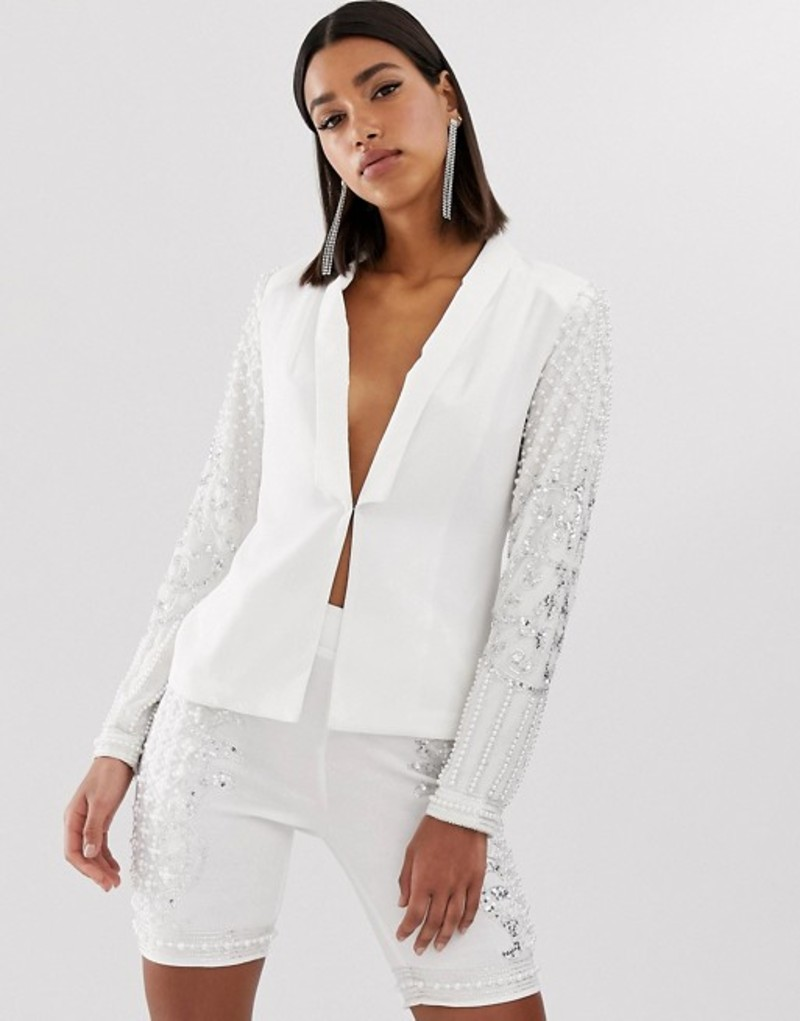 スターレット レディース ジャケット・ブルゾン アウター Starlet embellished blazer in white White