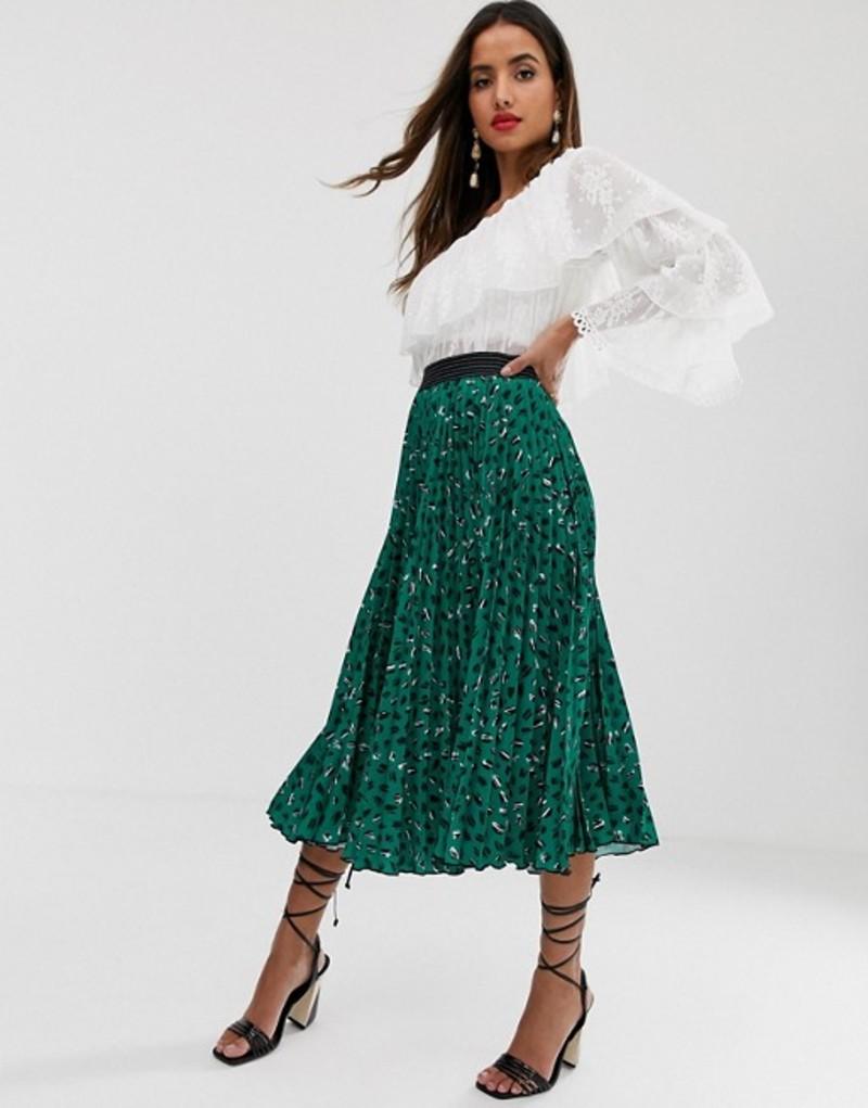 クローゼットロンドン レディース スカート ボトムス Closet London pleated midi skirt in green fleck print Green