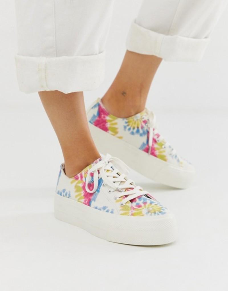 プルアンドベアー レディース スニーカー シューズ Pull&Bear flatform sneakers in tie dye Multi