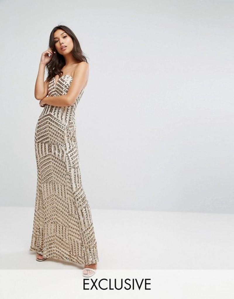ティエフエヌシー レディース ワンピース トップス TFNC Bandeau Sequin Maxi Dress Rose gold