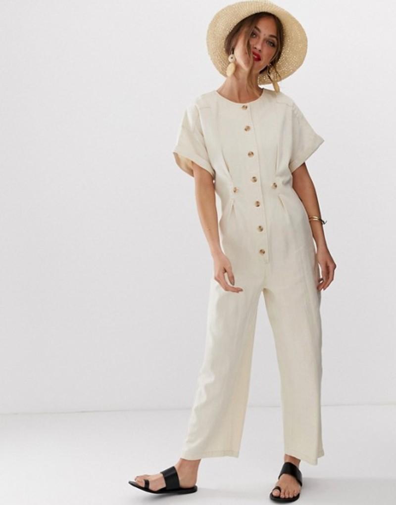 エイソス レディース ワンピース トップス ASOS DESIGN denim relaxed boilersuit in off white Off white