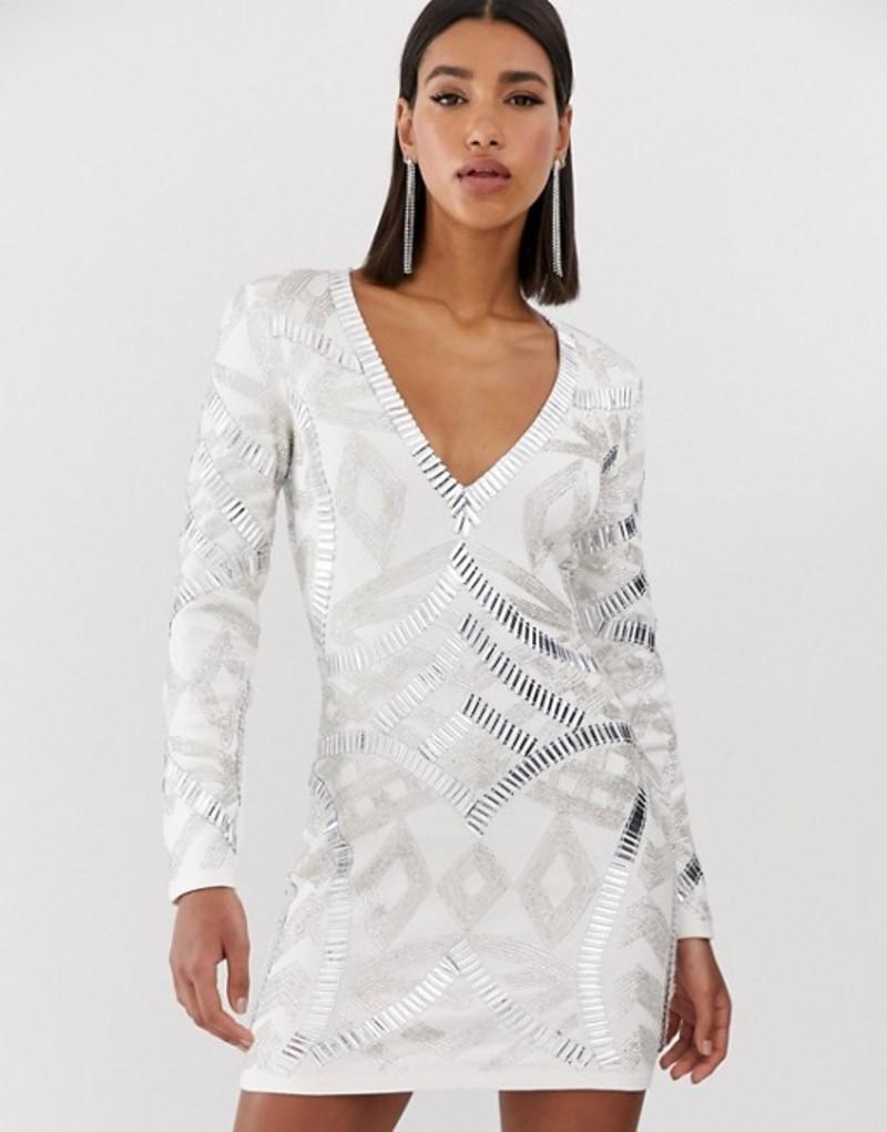 スターレット レディース ワンピース トップス Starlet allover embellished plunge front mini dress in white White/tonal