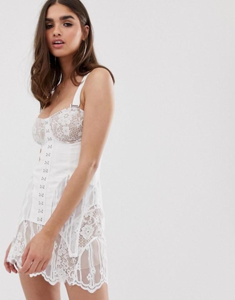 フォーラブアンドレモン レディース ワンピース トップス For Love & Lemons Alexandria mini dress White