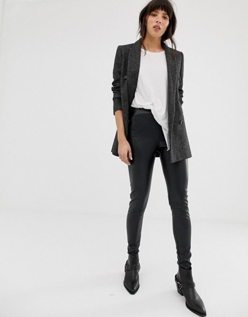 オールセインツ レディース レギンス ボトムス AllSaints cora faux leather leggings Black