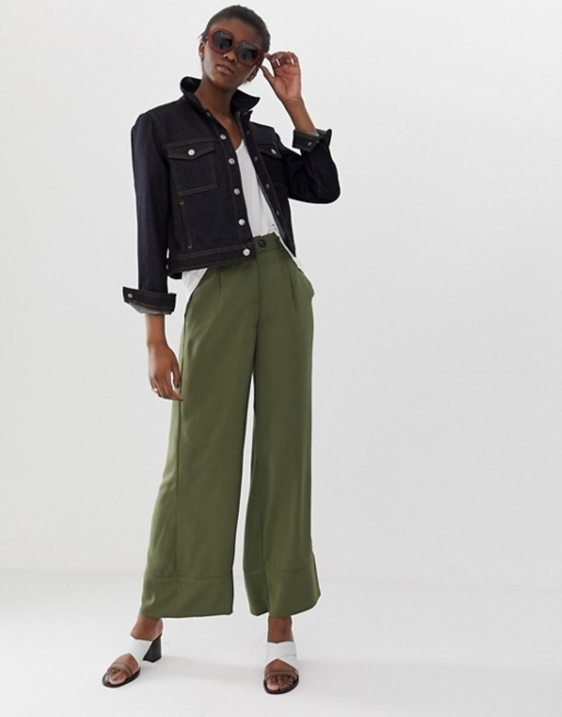 ヴェロモーダ レディース カジュアルパンツ ボトムス Vero Moda wide leg pants Green