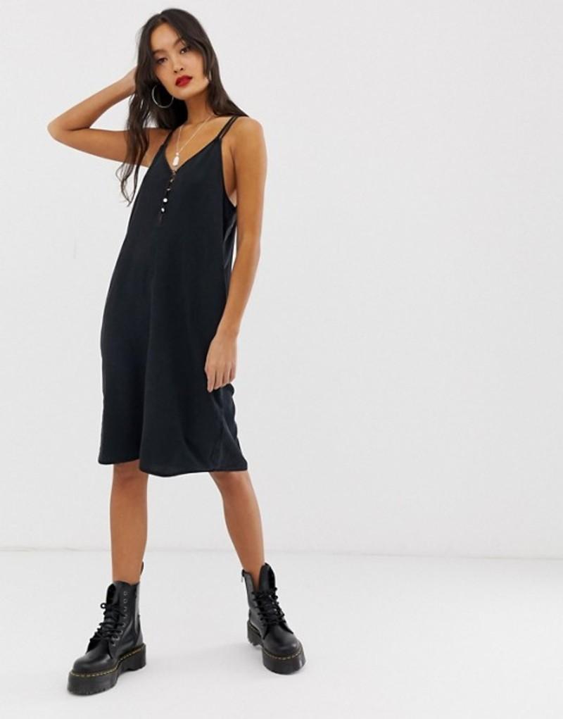ノイジーメイ レディース ワンピース トップス Noisy May button detail cami mini dress Black