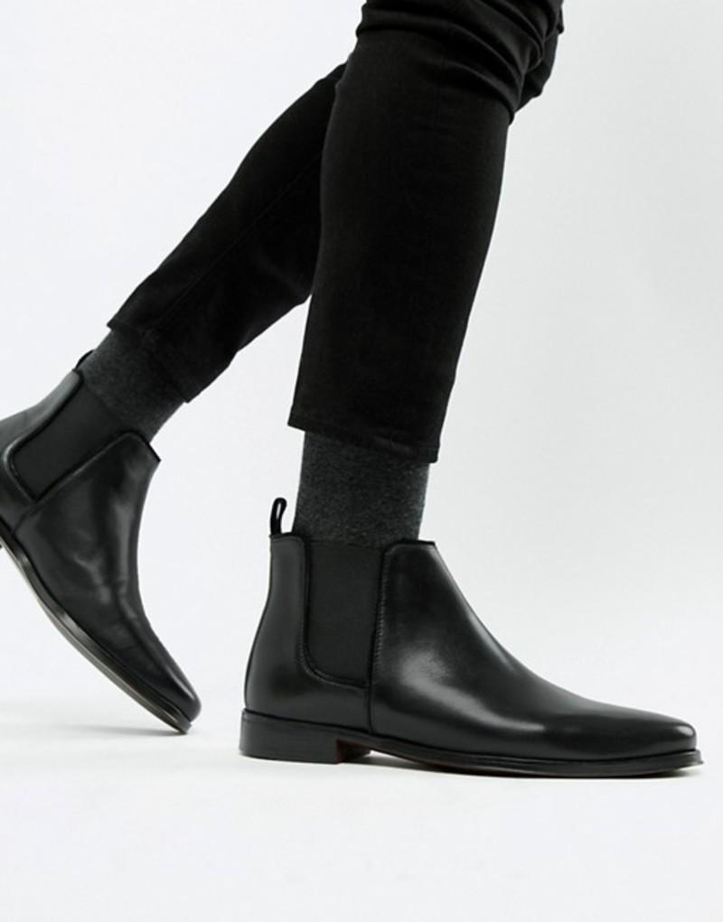 エイソス メンズ ブーツ・レインブーツ シューズ ASOS DESIGN chelsea boots in black leather with black sole Black