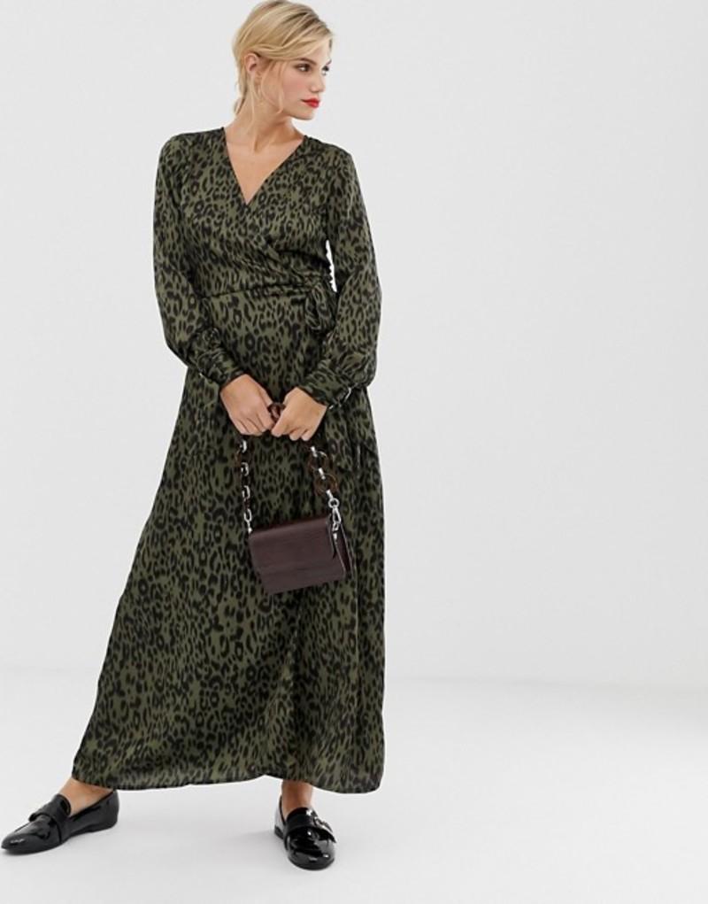 リクオリッシュ レディース ワンピース トップス Liquorish midi wrap dress in leopard print Khaki animal