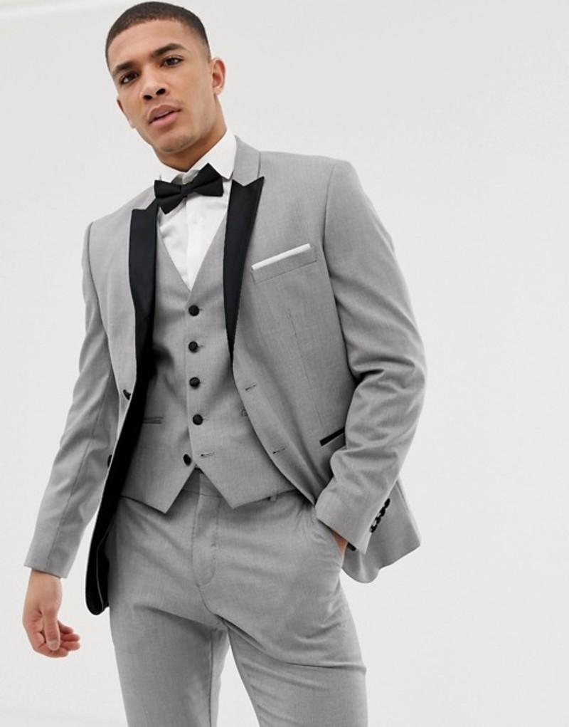セレクテッドオム メンズ ジャケット・ブルゾン アウター Selected Homme slim suit jacket with peaked satin lapel in gray Light grey melange