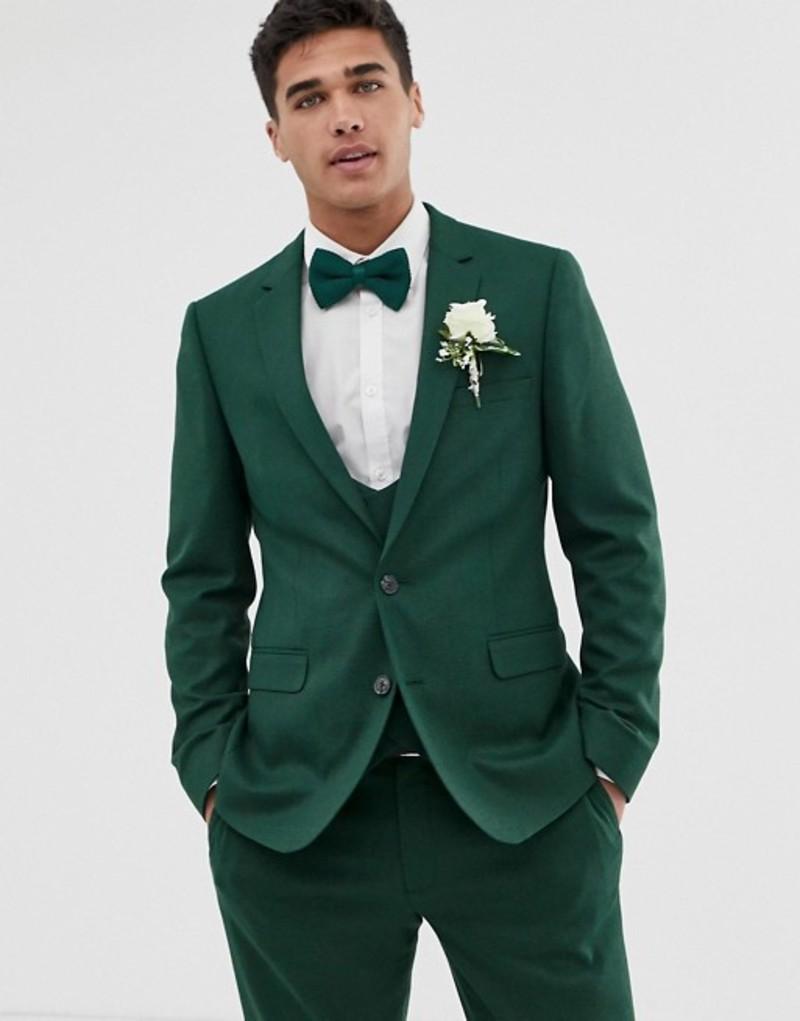 エイソス メンズ ジャケット・ブルゾン アウター ASOS DESIGN wedding skinny suit jacket in forest green micro texture Forest green