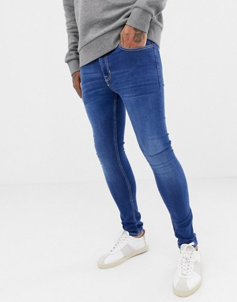 ニュールック メンズ デニムパンツ ボトムス New Look super skinny jeans in blue wash Bright blue