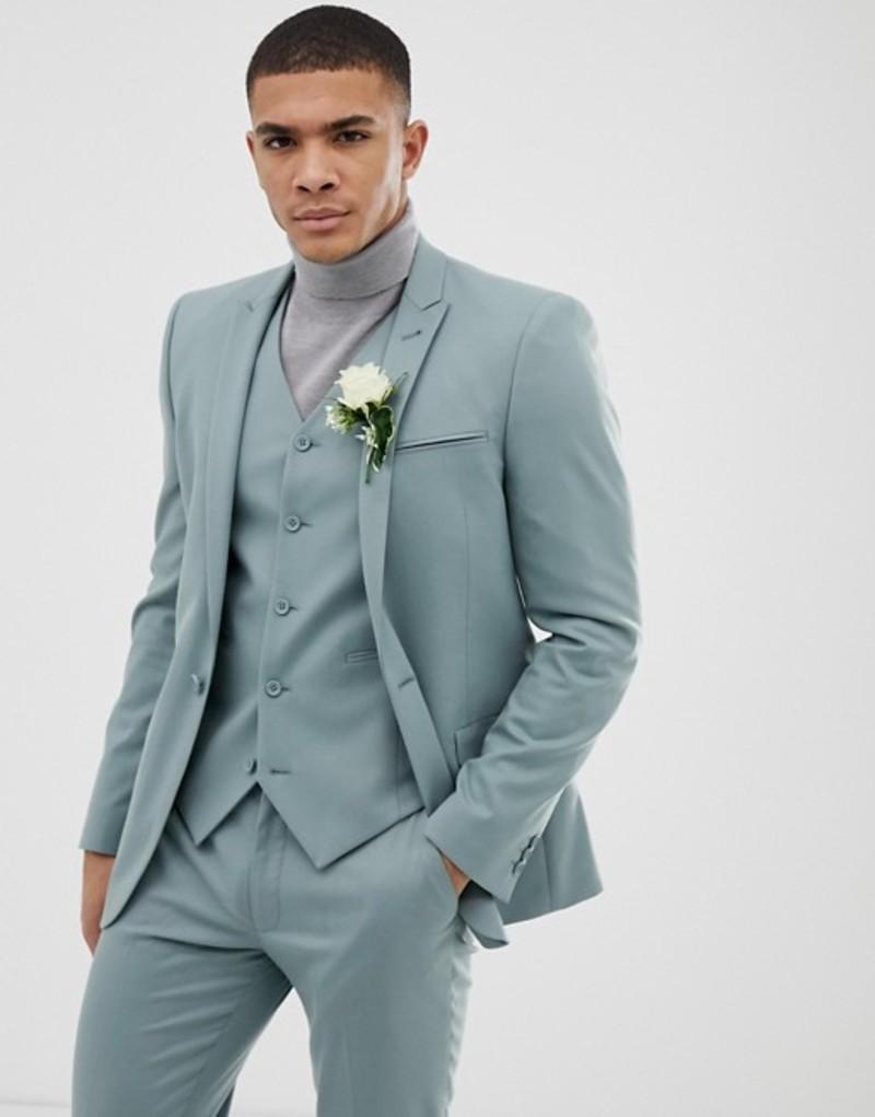 エイソス メンズ ジャケット・ブルゾン アウター ASOS DESIGN wedding skinny suit jacket in pastel blue Blue