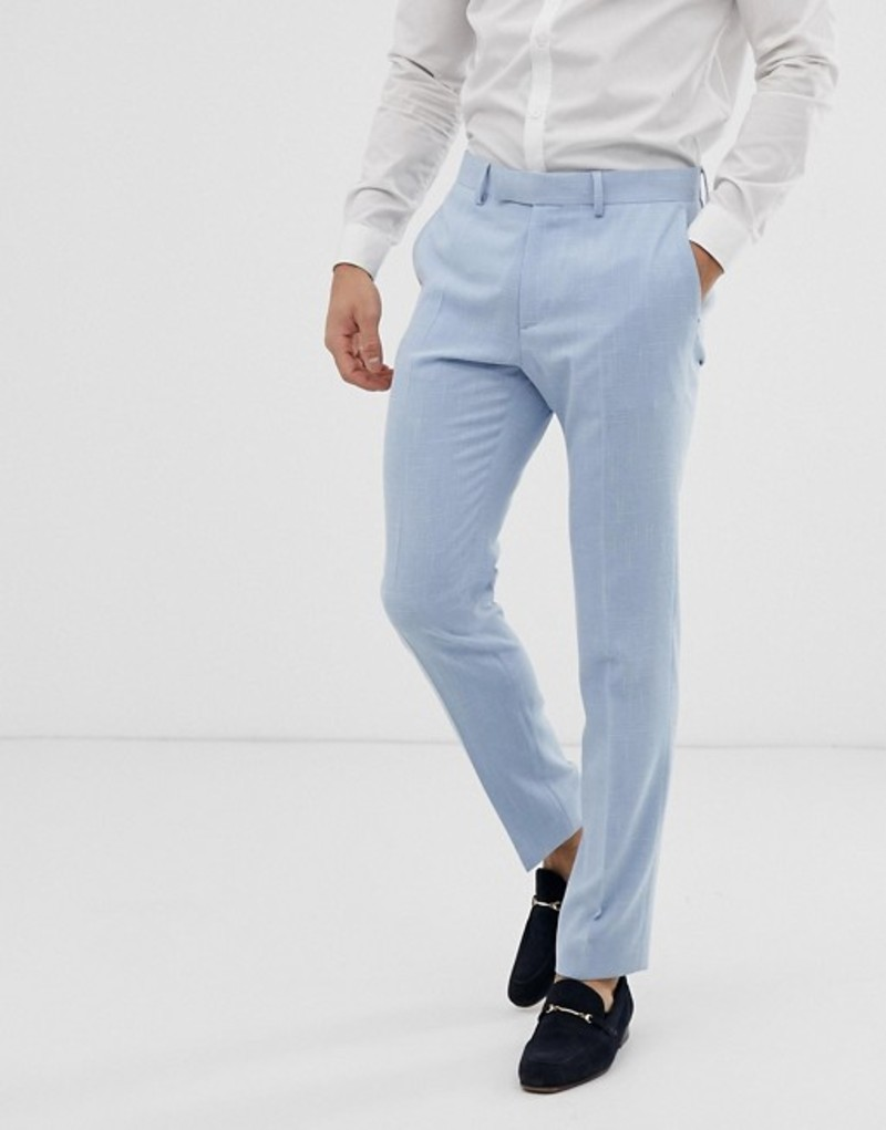 エイソス メンズ ジャケット・ブルゾン アウター ASOS DESIGN wedding skinny suit pants in blue cross hatch Light blue