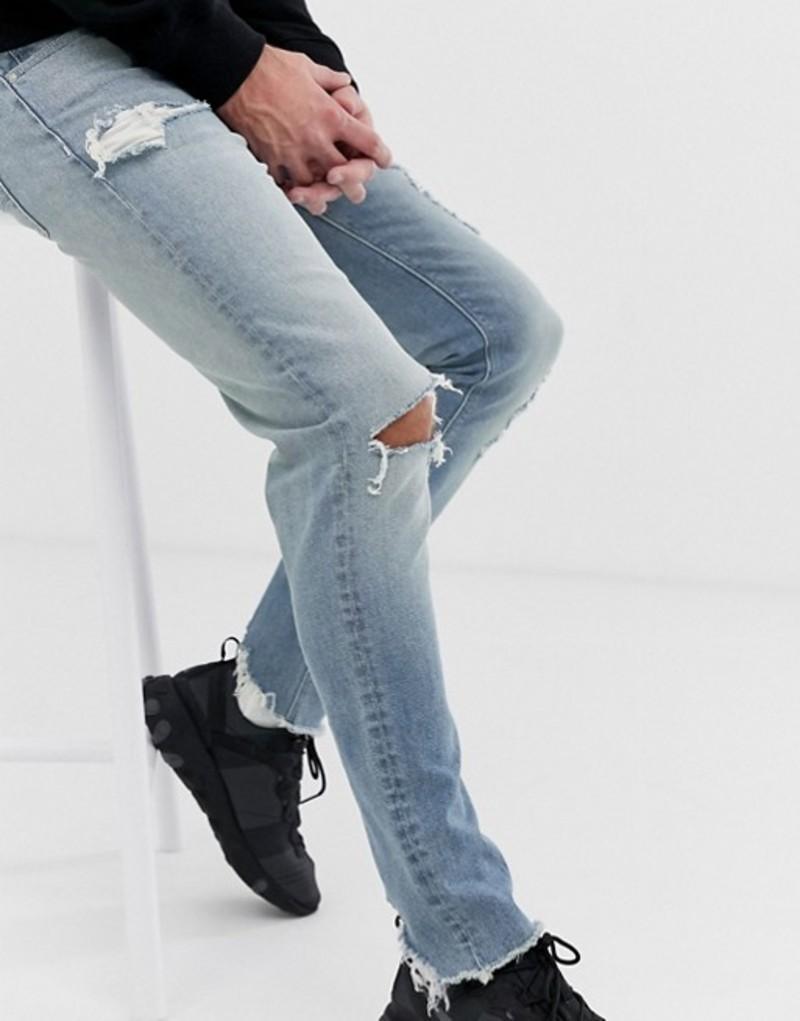 エイソス メンズ デニムパンツ ボトムス ASOS DESIGN skinny jeans in light wash blue with heavy rips Light wash blue