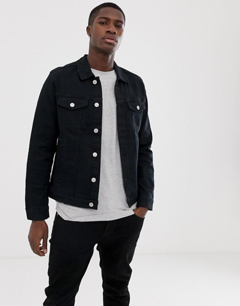 ジャック アンド ジョーンズ メンズ ジャケット・ブルゾン アウター Jack & Jones denim jacket in black Black