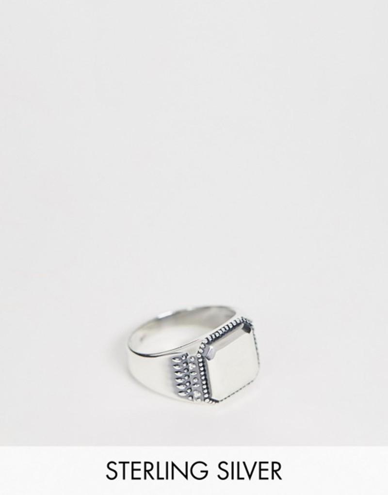 エイソス メンズ 指輪 アクセサリー ASOS DESIGN sterling silver smart signet ring with emboss Silver
