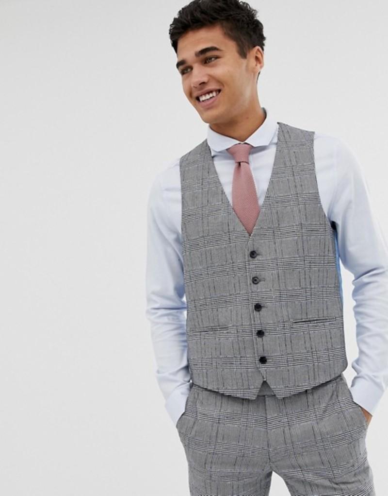 モス ブラザーズ メンズ タンクトップ トップス Moss London skinny vest with check boucle Blue
