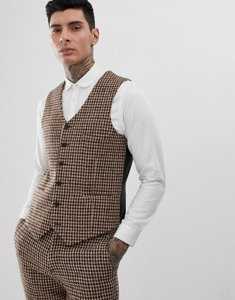ハートアンドダガー メンズ タンクトップ トップス Heart & Dagger slim suit vest in charcoal harris tweed Charcoal