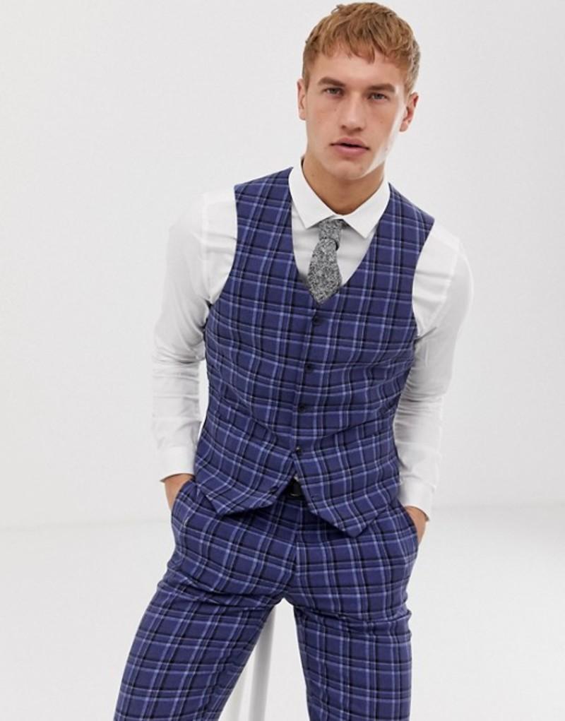 エイソス メンズ タンクトップ トップス ASOS DESIGN slim suit vest in tonal blue wool mix check Blue