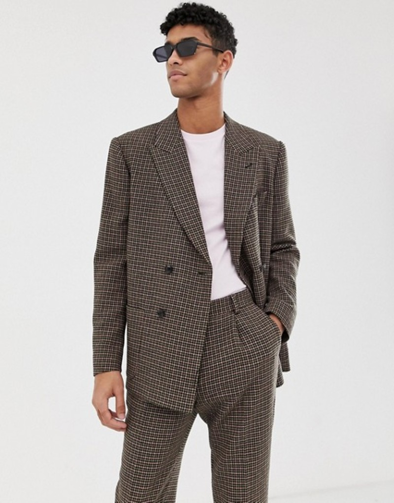 エイソス メンズ ジャケット・ブルゾン アウター ASOS DESIGN boxy double breasted suit jacket in green and pink houndstooth Green