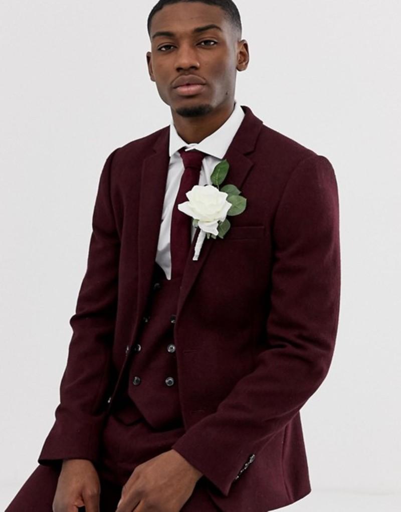 エイソス メンズ ジャケット・ブルゾン アウター ASOS DESIGN wedding super skinny suit jacket in burgundy twill Burgundy