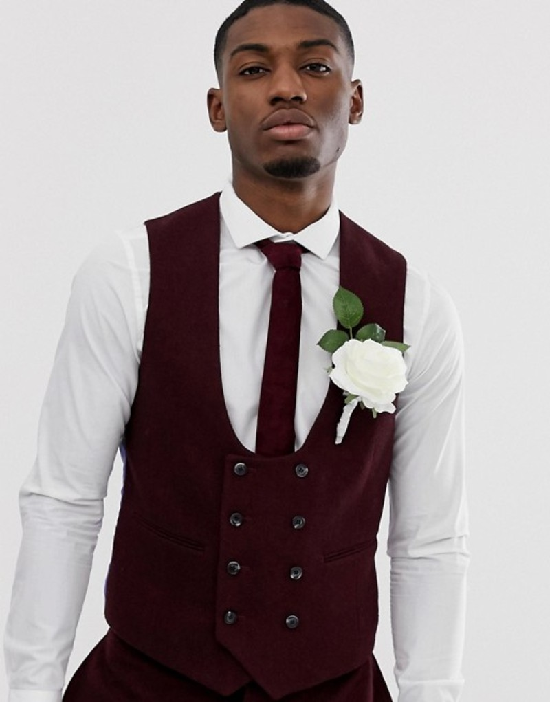 エイソス メンズ タンクトップ トップス ASOS DESIGN wedding super skinny suit vest in burgundy twill Burgundy