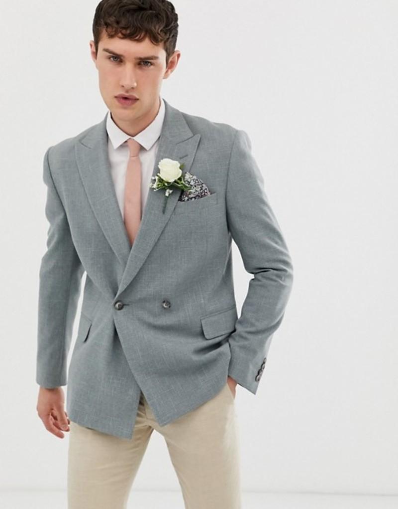 エイソス メンズ ジャケット・ブルゾン アウター ASOS DESIGN wedding slim double breasted blazer in olive cross hatch Olive