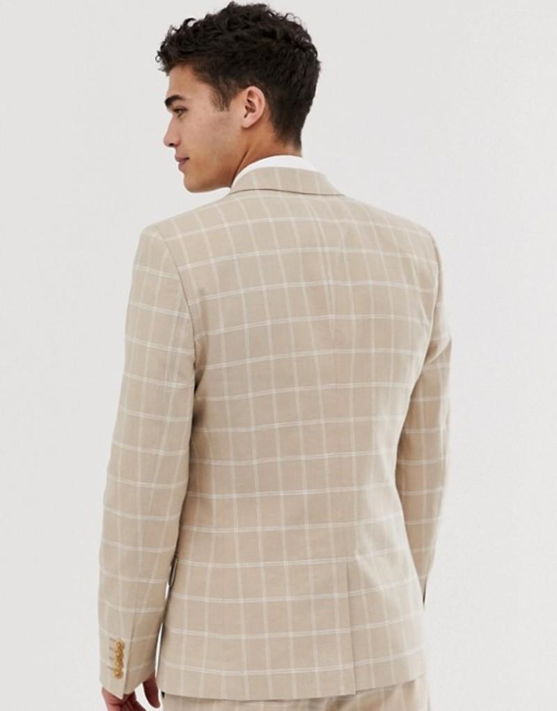 エイソス メンズ ジャケット・ブルゾン アウター ASOS DESIGN skinny suit jacket in camel linen windowpane check CamelE9eWDH2YI