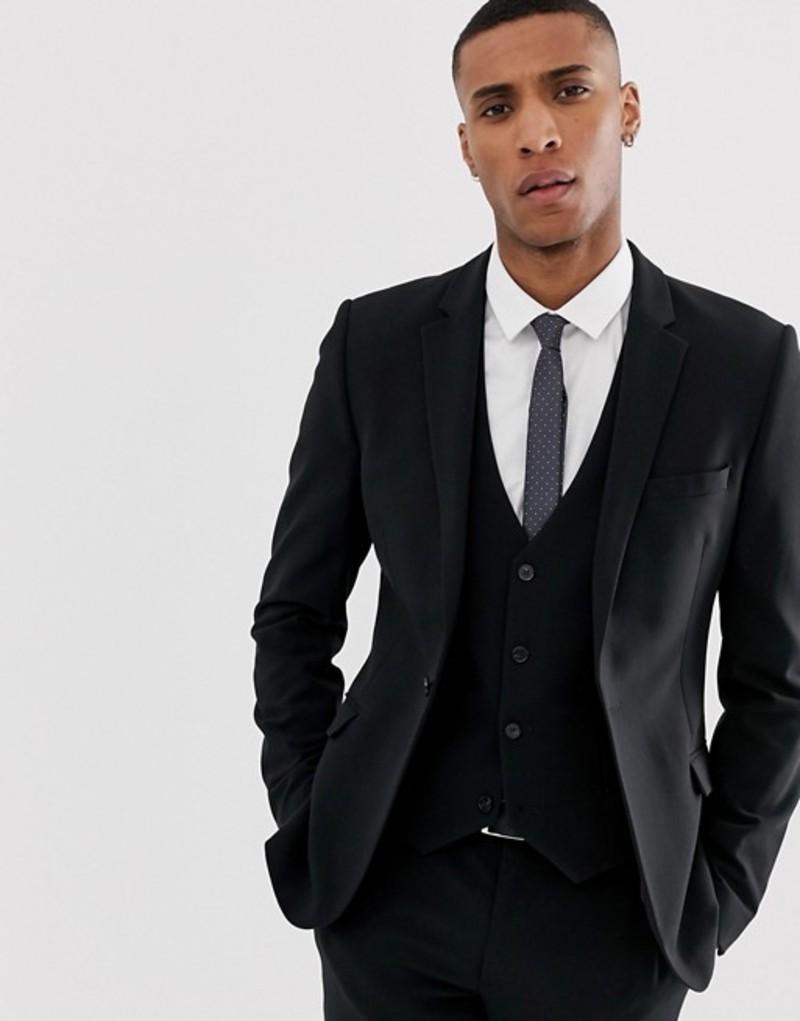 エイソス メンズ ジャケット・ブルゾン アウター ASOS DESIGN super skinny suit jacket in black Black