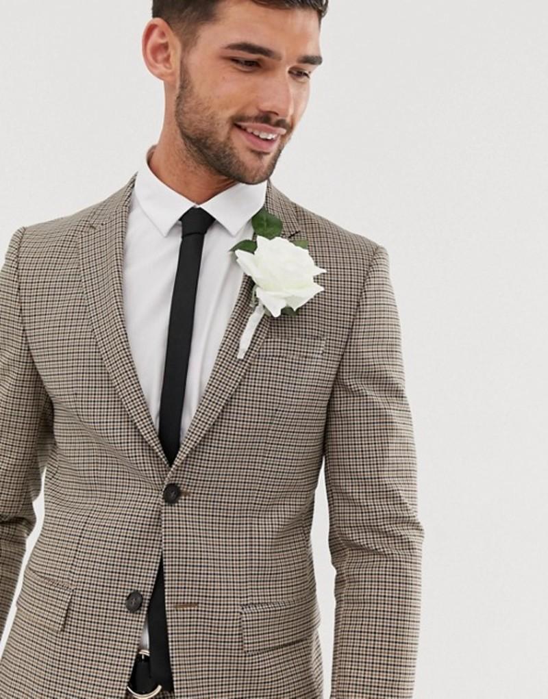 リバーアイランド メンズ ジャケット・ブルゾン アウター River Island wedding suit jacket in brown check Brown