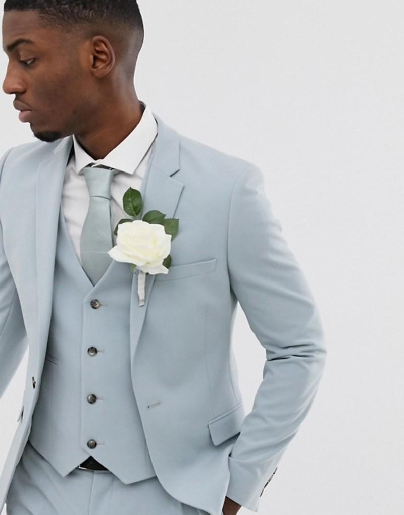 エイソス メンズ ジャケット・ブルゾン アウター ASOS DESIGN wedding super skinny suit jacket in ice blue Blue