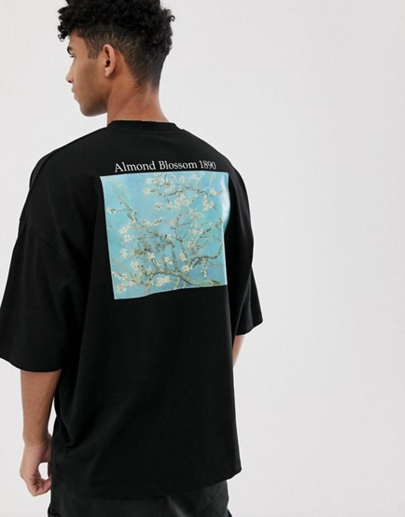 エイソス メンズ Tシャツ トップス ASOS DESIGN Vincent Van Gogh oversized t-shirt with placement and text print Black