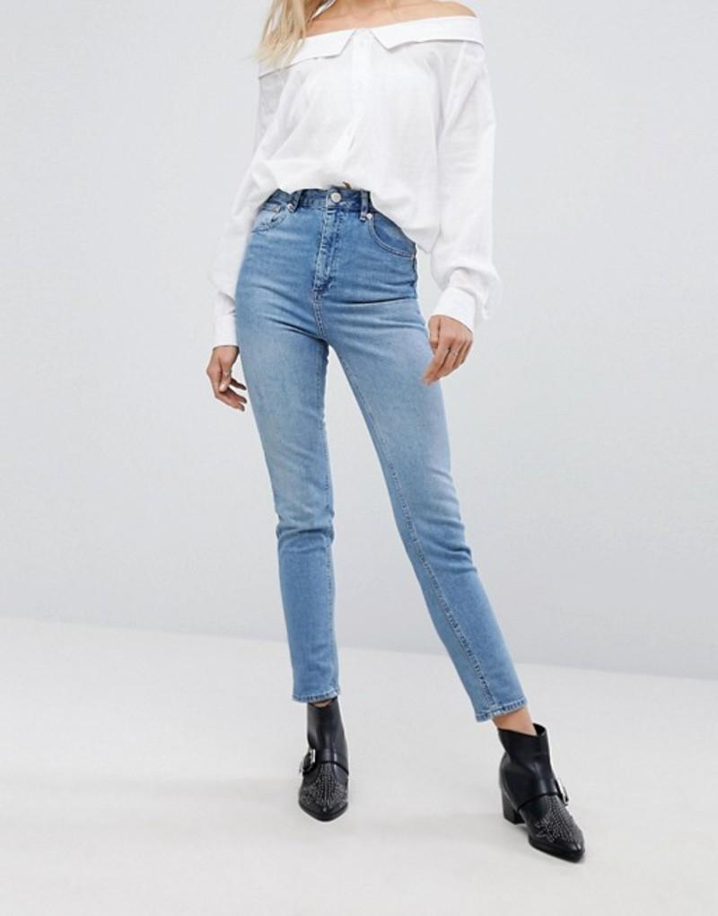 エイソス レディース デニムパンツ ボトムス ASOS FARLEIGH High Waist Slim Mom Jeans in Prince Wash Prince wash